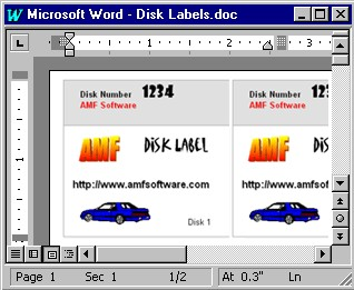 3.5 Inch Disk Label Creator for Word 3.2 screenshot