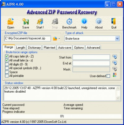 Advanced Archive Password Recovery 4.54 screenshot