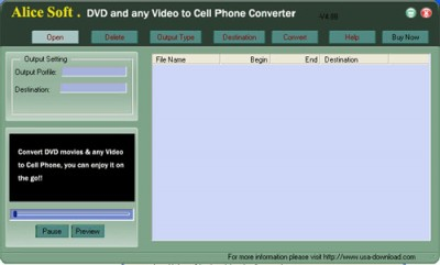 Alice DVD any Video to Cell Phone ConverteR 9.99 screenshot