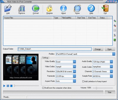 Allok Video to iPod Converter 6.2.0603 screenshot