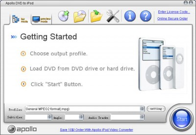Apollo DVD to iPod 6.1.2 screenshot