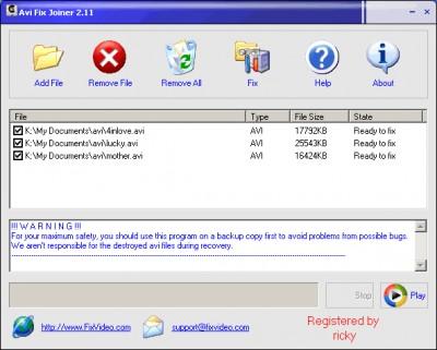 Avi Fix Repair Joiner 2.11 screenshot