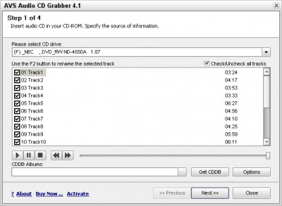 AVS Audio CD Grabber 4.1.1.194 screenshot