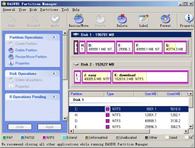 EASEUS Partition Manager 1.6.4 screenshot