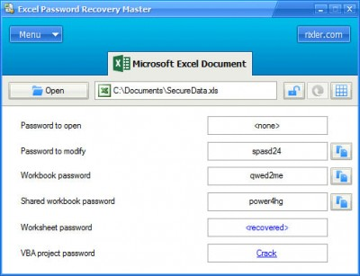 Excel Password Recovery Master 4.0 screenshot