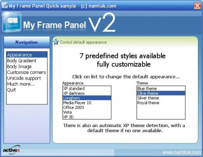 My Frame Panel ActiveX 2.01 screenshot