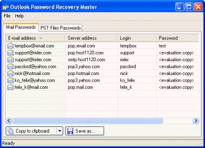 Outlook Password Recovery Master 1.0 screenshot