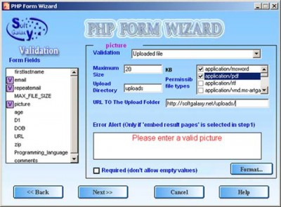 php form wizard 1.1 screenshot