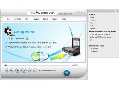 Plato DVD to 3GP Converter 12.08.01 screenshot