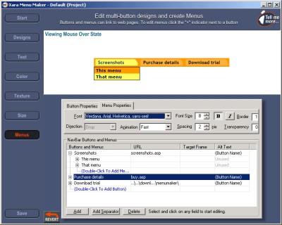 Xara Menu Maker 1.1 screenshot