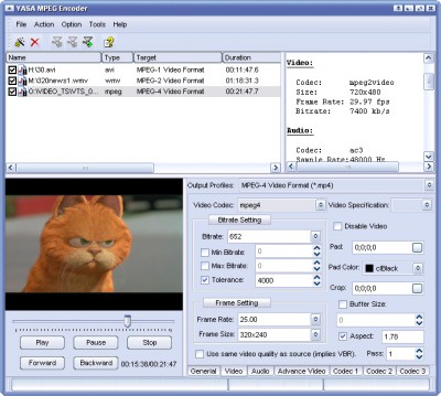 YASA MPEG Encoder 3.2.30.125 screenshot